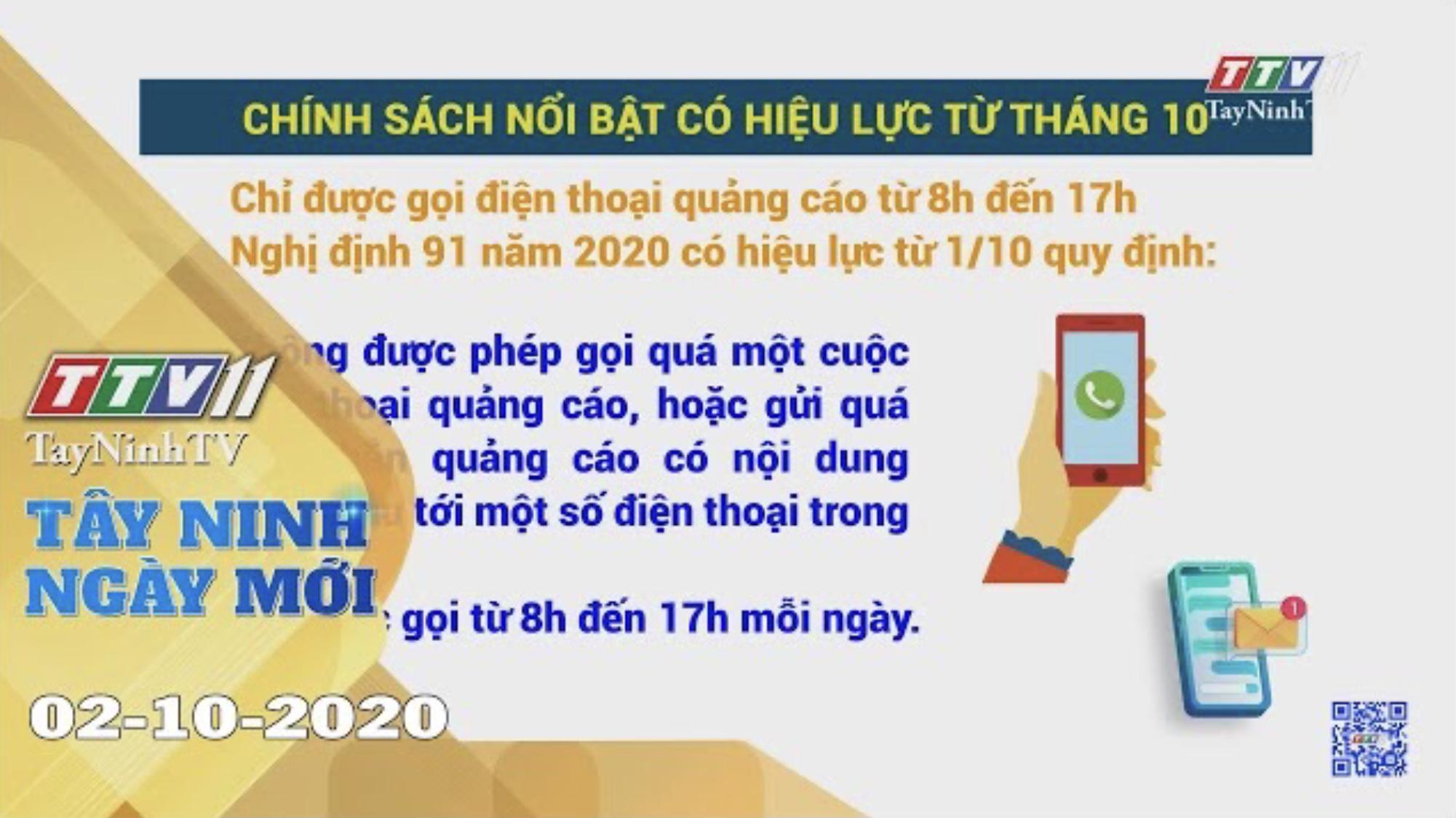 Tây Ninh Ngày Mới 02-10-2020 | Tin tức hôm nay | TayNinhTV