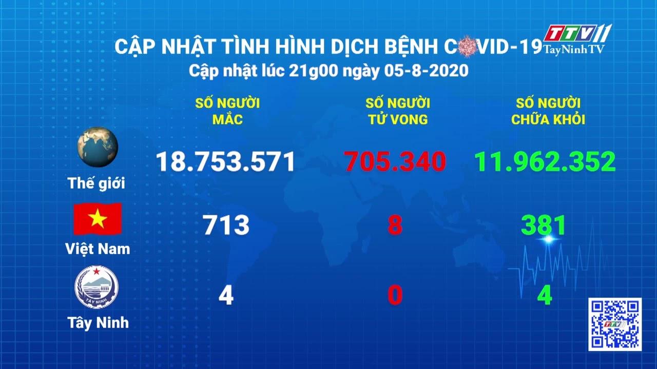 Cập nhật tình hình Covid-19 vào lúc 21 giờ 05-8-2020 | Thông tin dịch Covid-19 | TayNinhTV