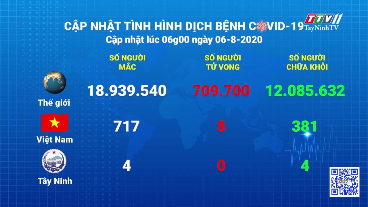 Cập nhật tình hình Covid-19 vào lúc 6 giờ 06-8-2020 | Thông tin dịch Covid-19 | TayNinhTV
