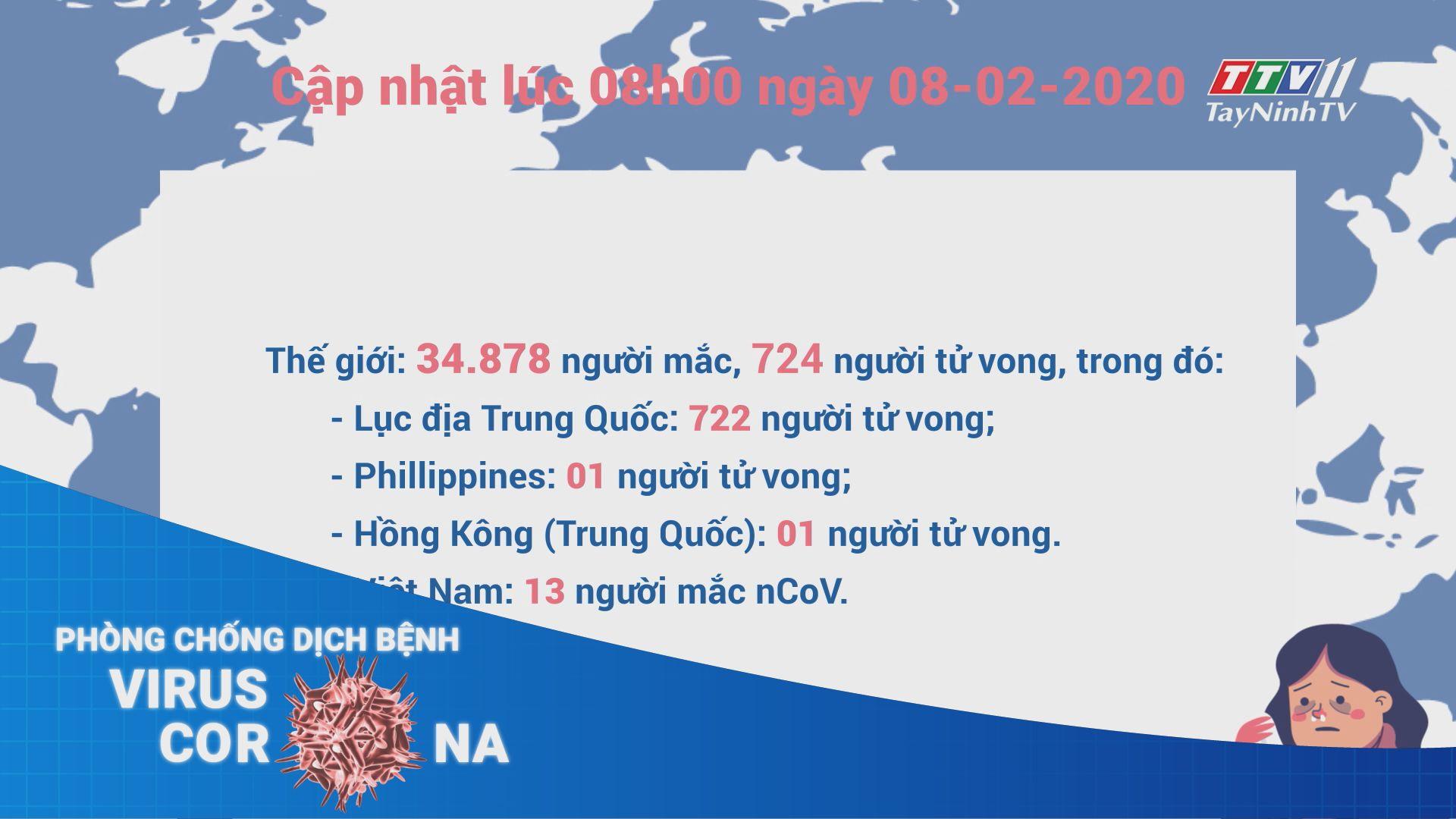 Cập nhật tình hình dịch bệnh viêm đường hô hấp do chủng mới của virus Corona (nCoV) đến 08 giờ ngày 08-02-2020 | TayNinhTV