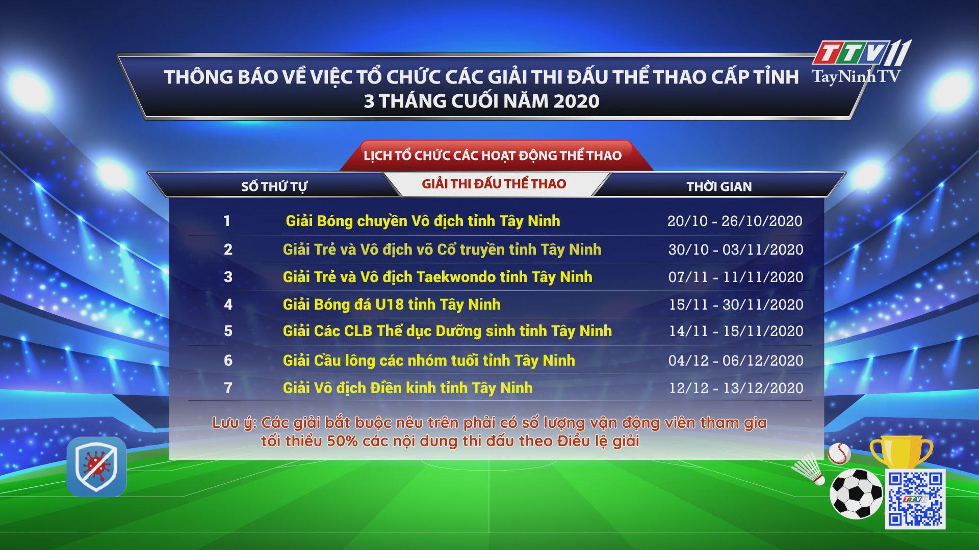 Thông báo về việc tổ chức các giải thi đấu thể thao cấp tỉnh 3 tháng cuối năm 2020 | TayNinhTV