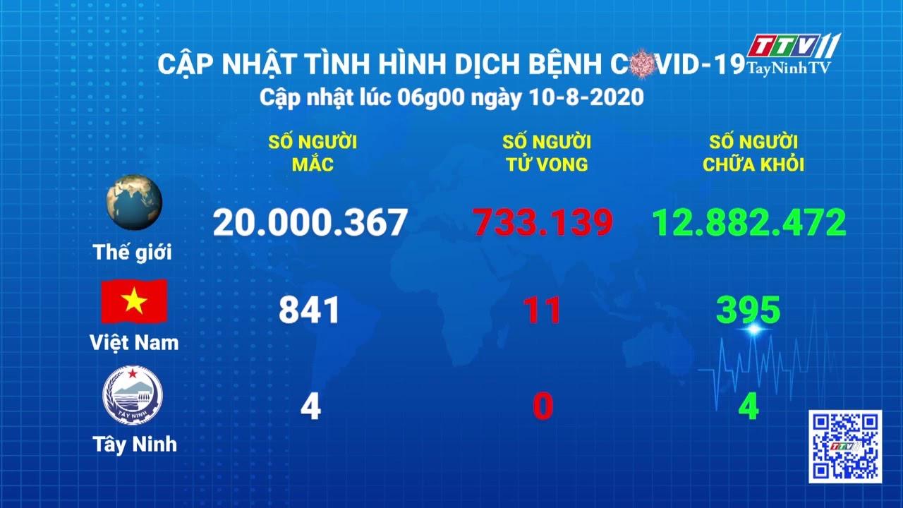 Cập nhật tình hình Covid-19 vào lúc 06 giờ 10-8-2020 | Thông tin dịch Covid-19 | TayNinhTV