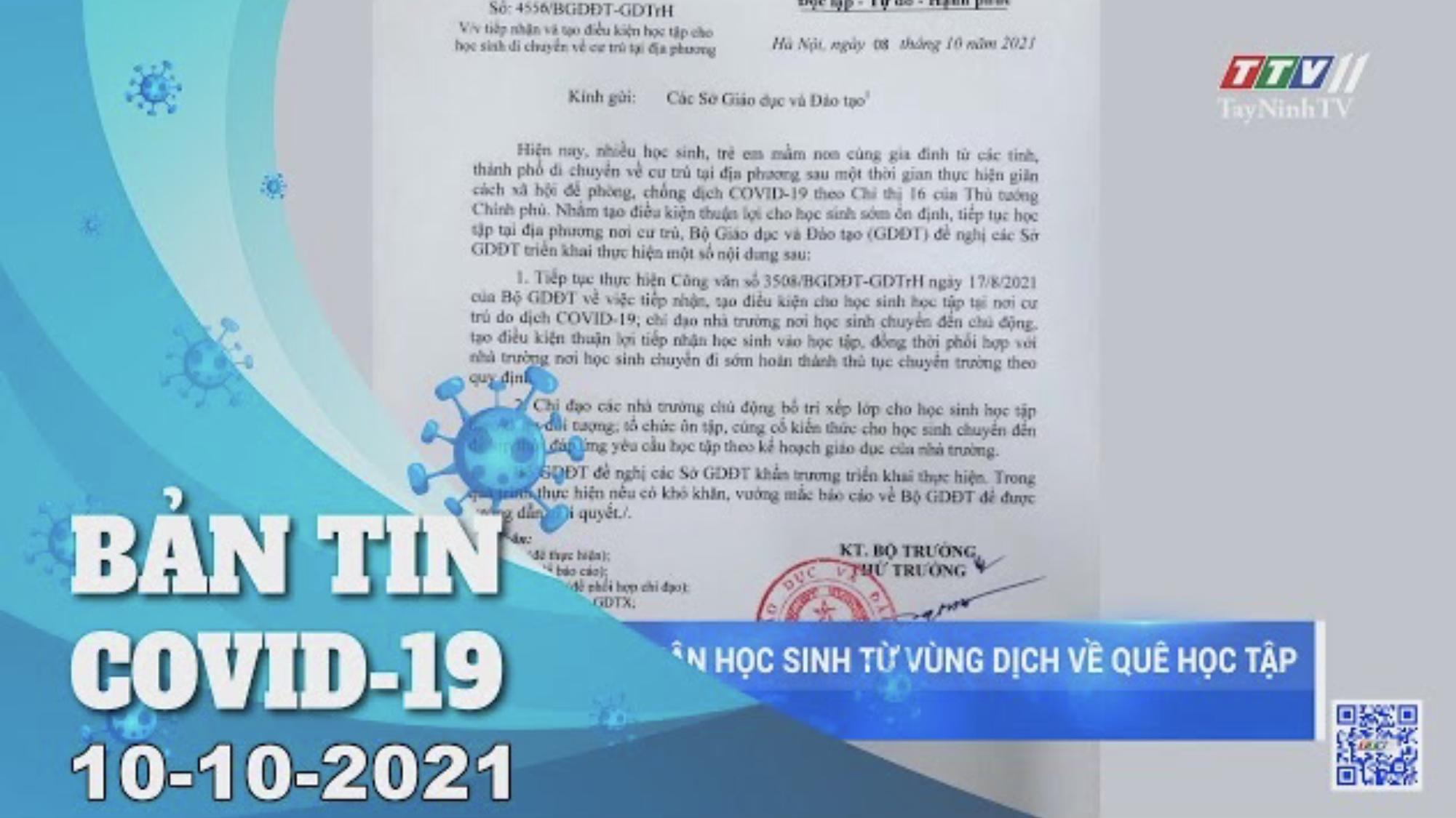 BẢN TIN COVID-19 10/10/2021 | Tin tức hôm nay | TayNinhTV