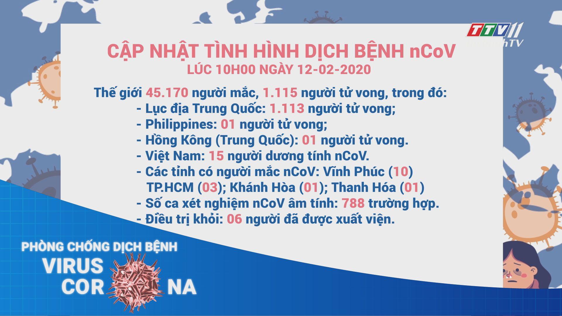 Cập nhật tình hình dịch bệnh viêm phổi cấp nCoV đến 10 giờ ngày 12-02-2020 | TayNinhTV