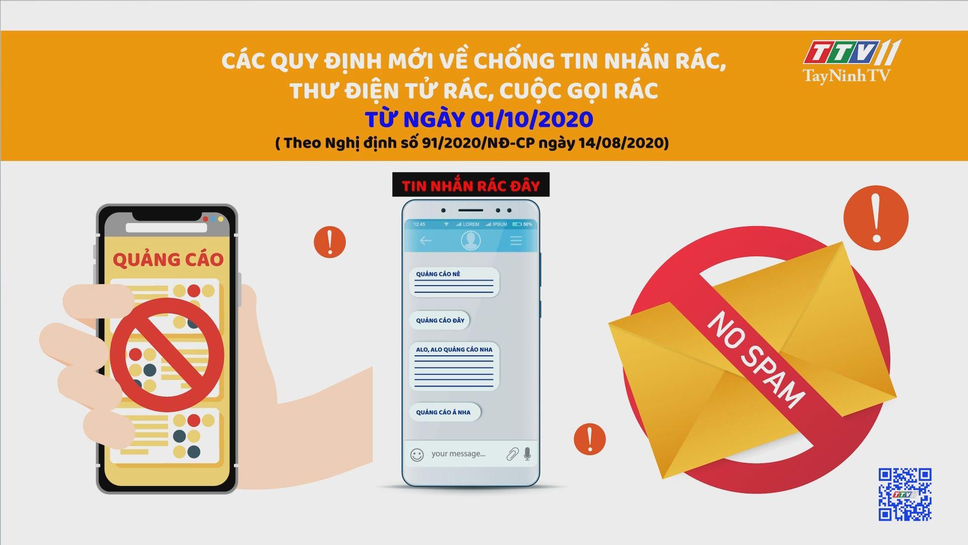 Các Quy định mới về chống tin nhắn rác, thư điện tử rác, cuộc gọi rác từ ngày 01/10/2020 | TayNinhTV