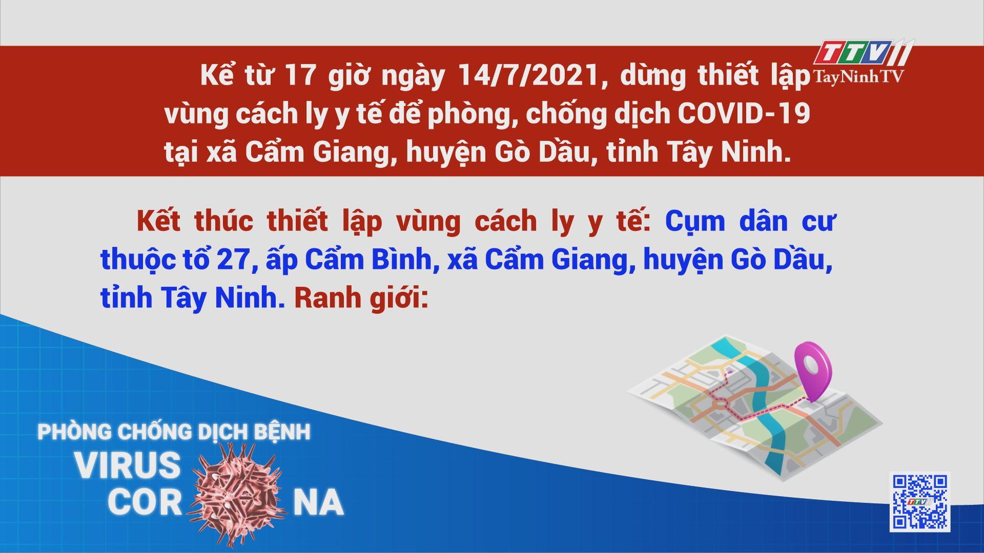 Dừng thiết lập vùng cách ly y tế để phòng, chống dịch COVID-19   THÔNG TIN DỊCH COVID-19   TayNinhTV