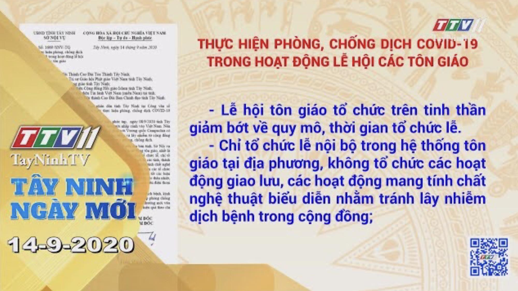 Tây Ninh Ngày Mới 15-9-2020 | Tin tức hôm nay | TayNinhTV