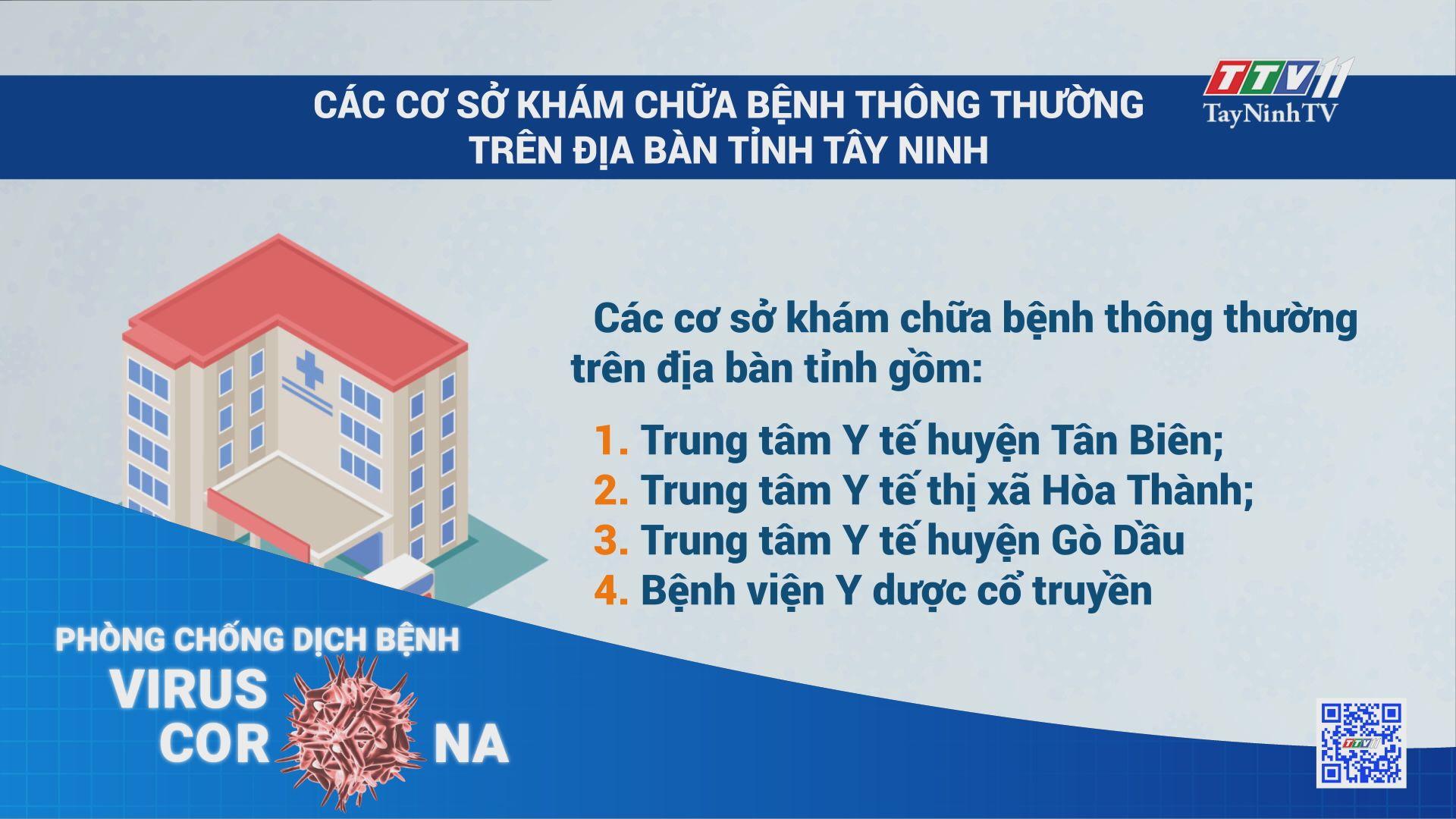 Các cơ sở khám chữa bệnh thông thường trên địa bàn tỉnh Tây Ninh | THÔNG TIN DỊCH COVID-19 | TayNinhTV