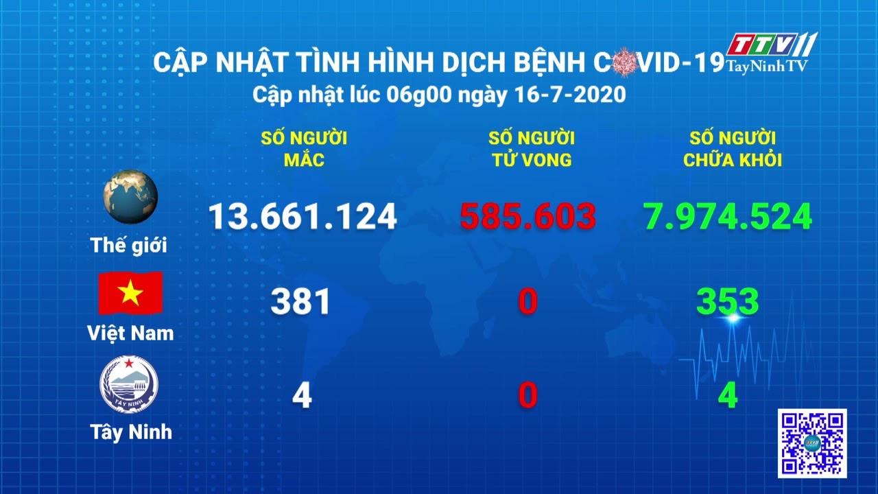 Cập nhật tình hình Covid-19 vào lúc 06 giờ 16-7-2020   Thông tin dịch Covid-19   TayNinhTV