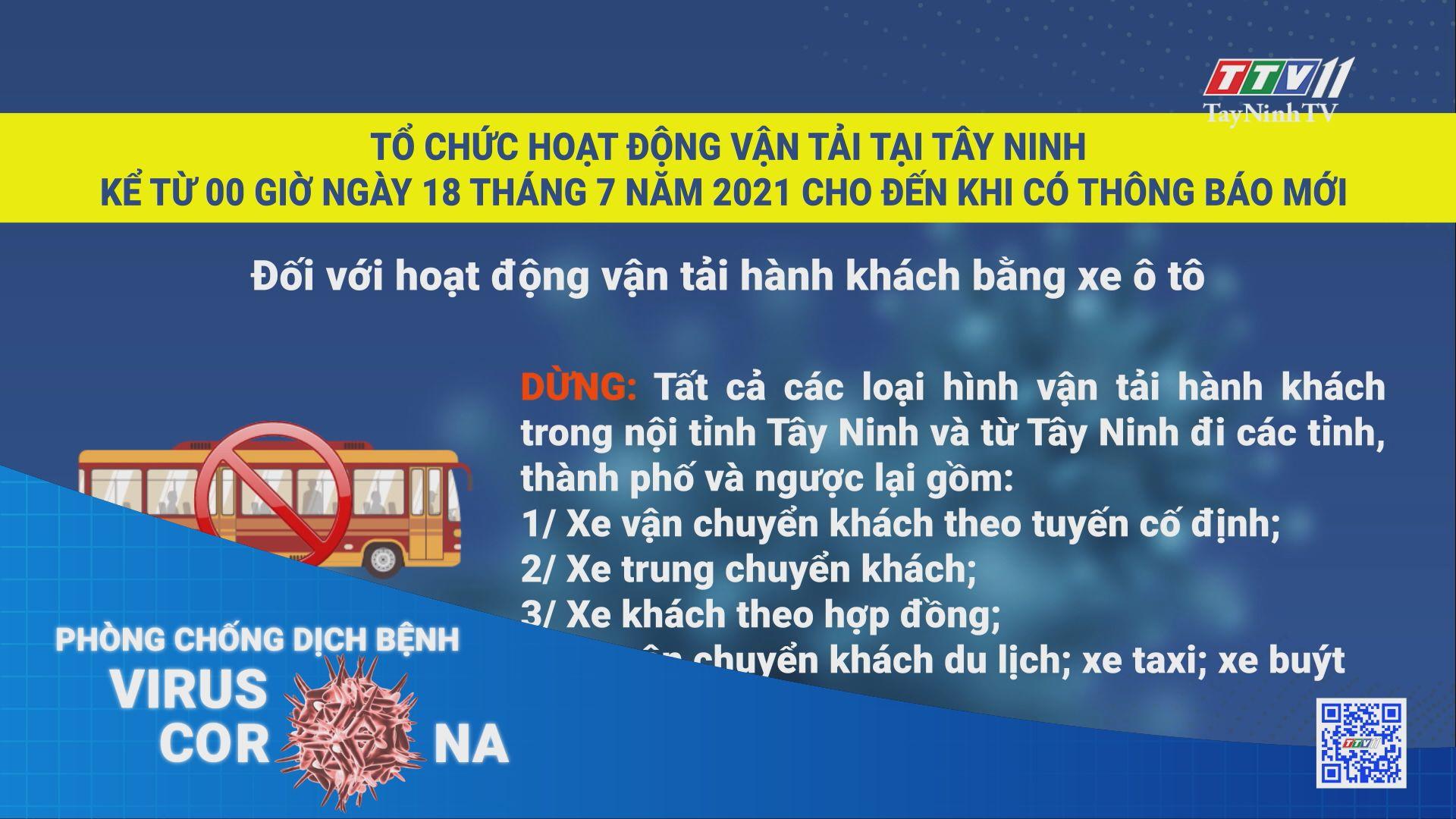 Tổ chức hoạt động vận tải tại Tây Ninh trong thời gian thực hiện Chỉ thị 16   THÔNG TIN DỊCH COVID-19   TayNinhTV