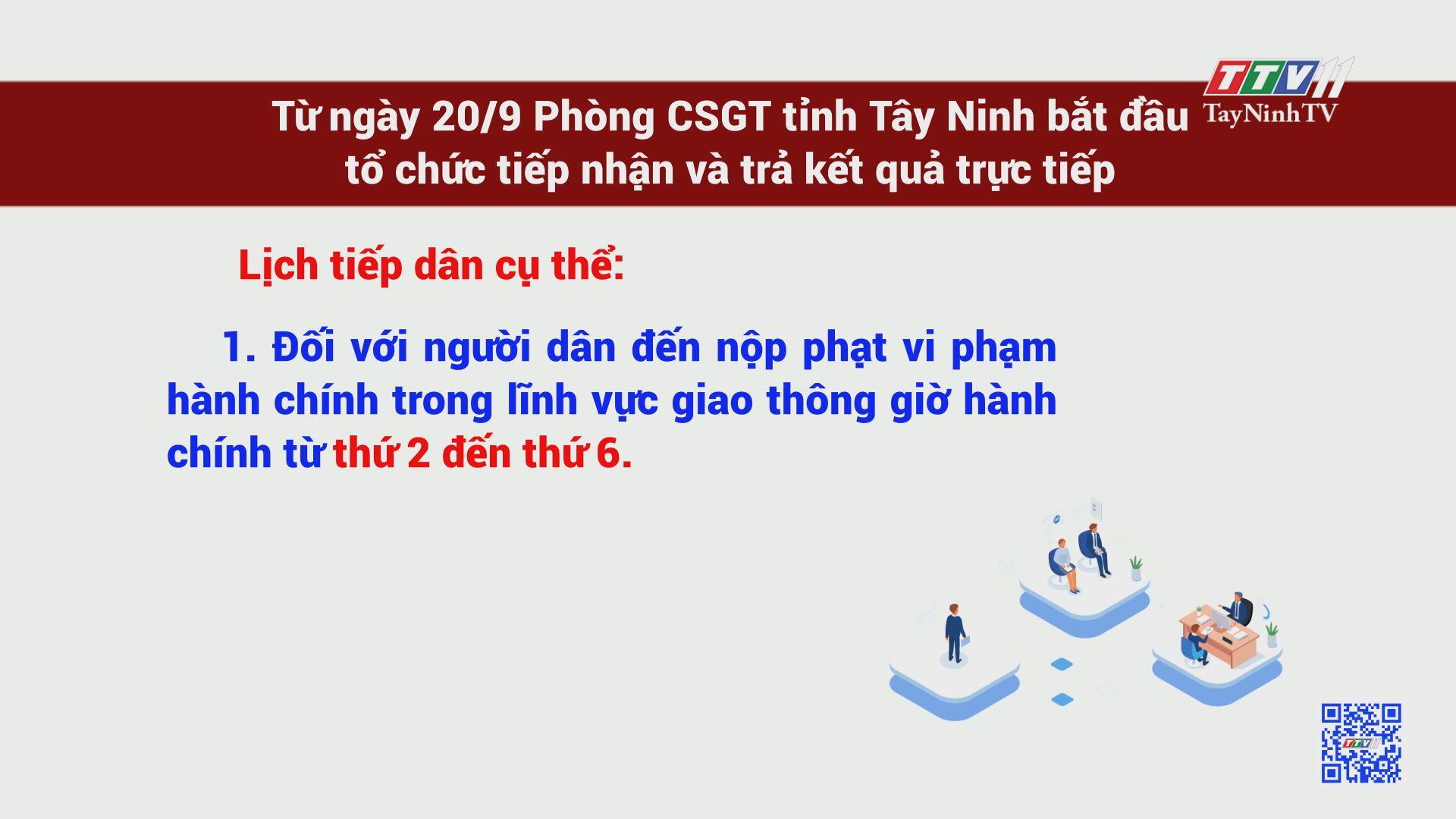 Từ ngày 20/9, Phòng CSGT tổ chức tiếp nhận giải quyết thủ tục hành chính | TayNinhTV