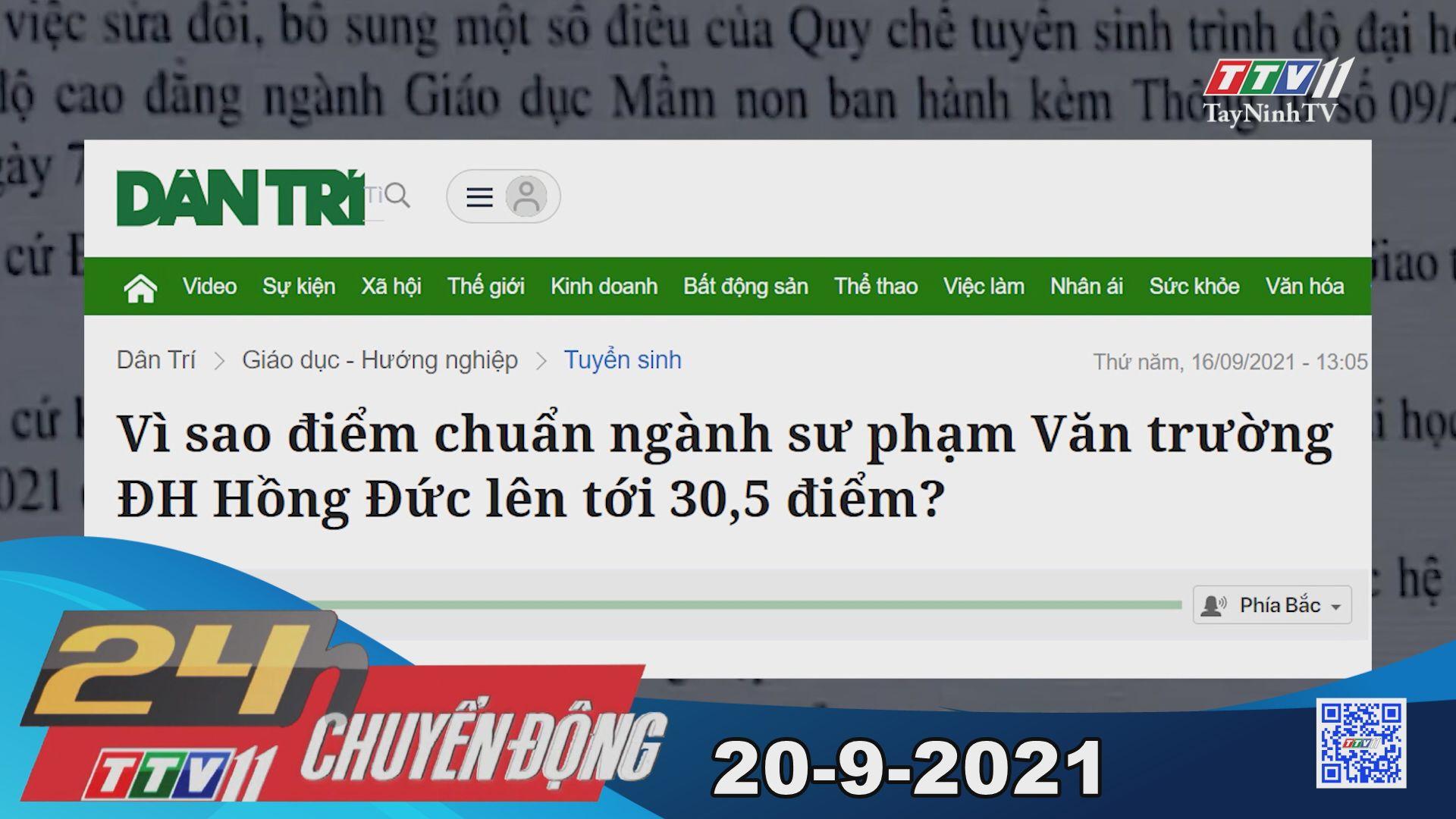24h Chuyển động 20/9/2021 | Tin tức hôm nay | TayNinhTV