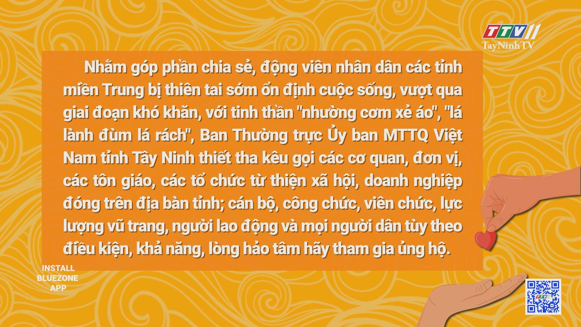 Ủy ban MTTQ Việt Nam tỉnh Tây Ninh kêu gọi ủng hộ đồng bào miền Trung bị bão lũ | THỜI SỰ | TayNinhTV