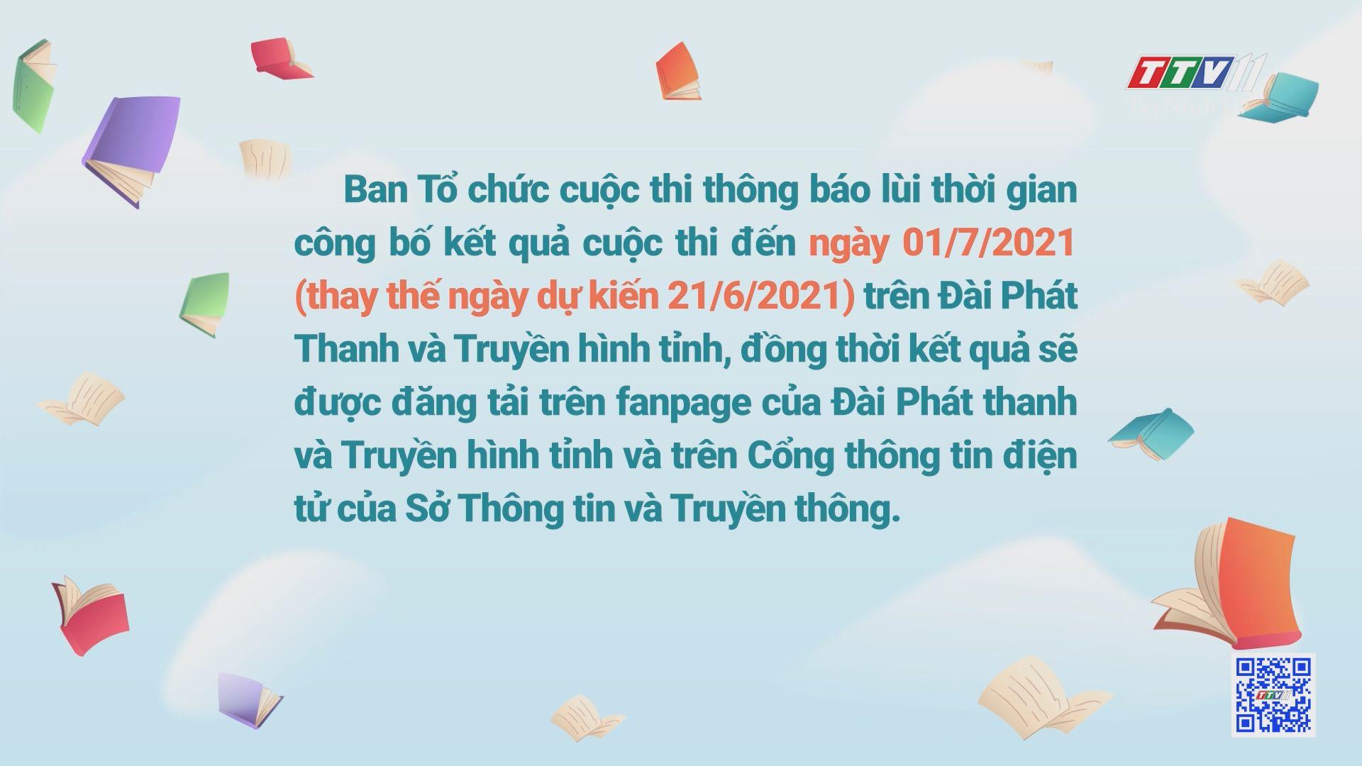 Thông báo lùi thời gian công bố kết quả cuộc thi CUỐN SÁCH TÔI YÊU đến ngày 01/7/2021 | TayNinhTV