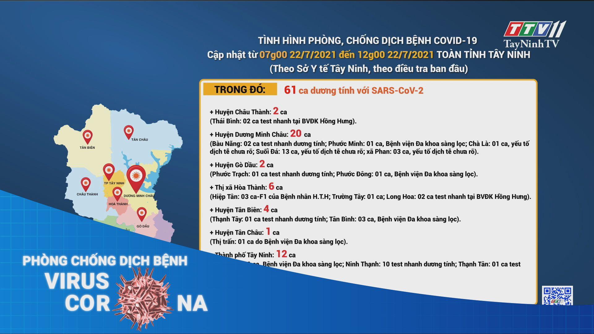 Cập nhật tình hình dịch bệnh Covid-19 đến 12 giờ ngày 22/7/2021   THÔNG TIN DỊCH COVID-19   TayNinhTV