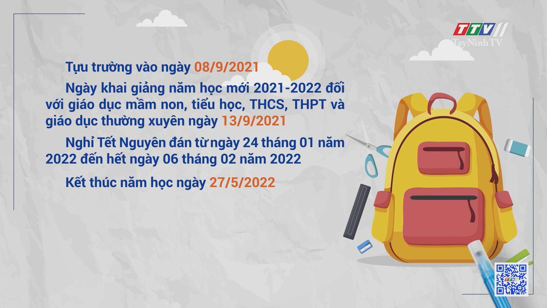 Tây Ninh chính thức ban hành khung kế hoạch thời gian năm học 2021 – 2022 | TayNinhTV
