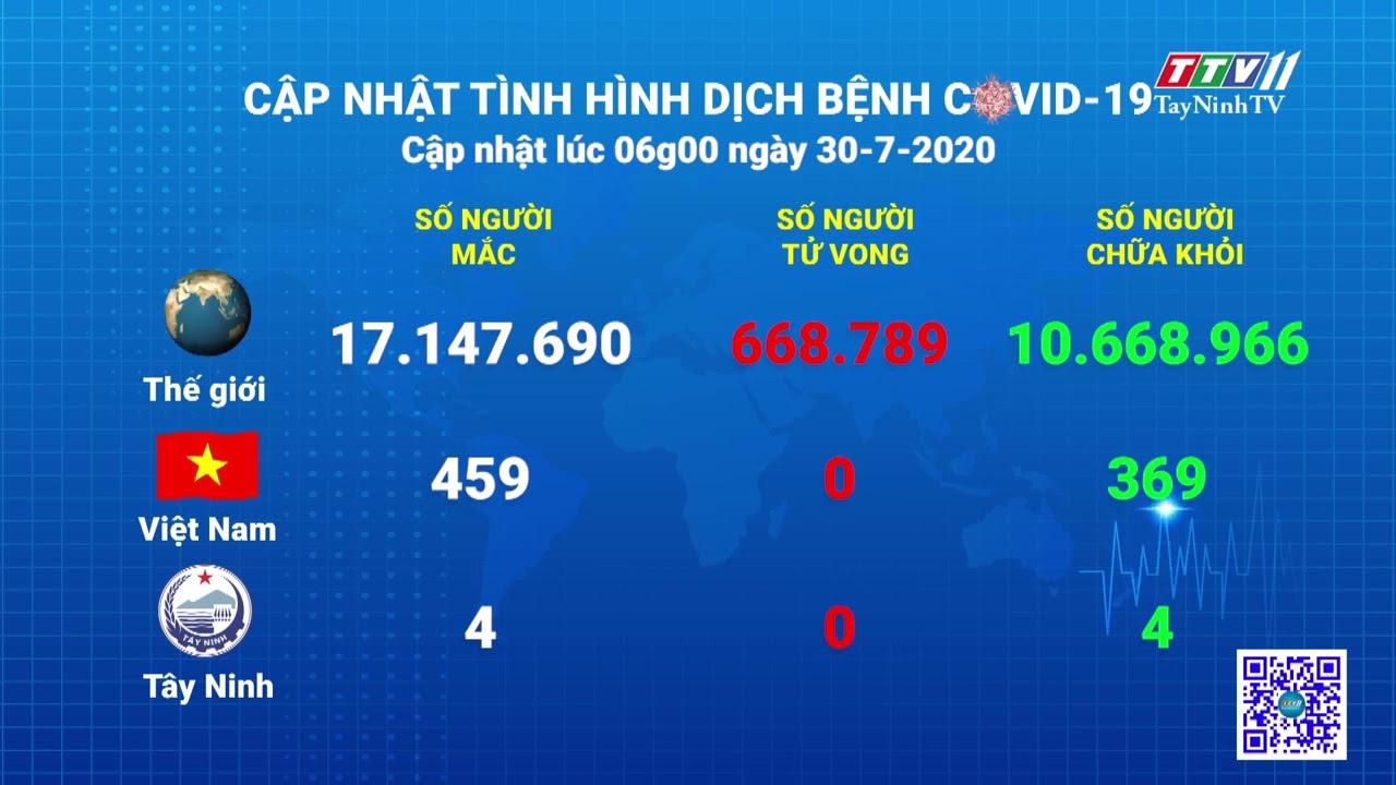 Cập nhật tình hình Covid-19 vào lúc 06 giờ 30-7-2020 | Thông tin dịch Covid-19 | TayNinhTV