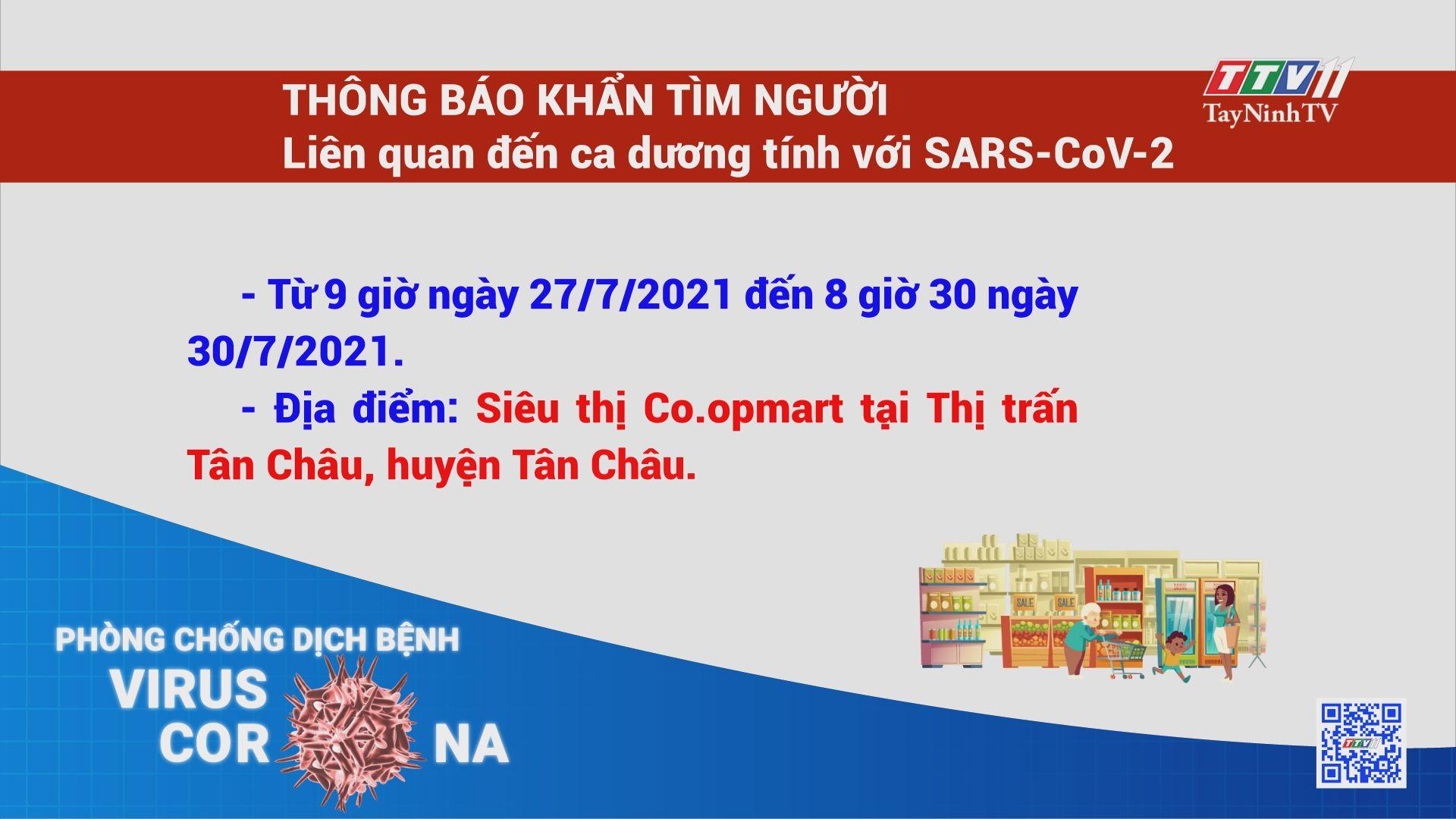 THÔNG BÁO KHẨN TÌM NGƯỜI - Liên quan đến ca dương tính với SARS-CoV-2 | TayNinhTV