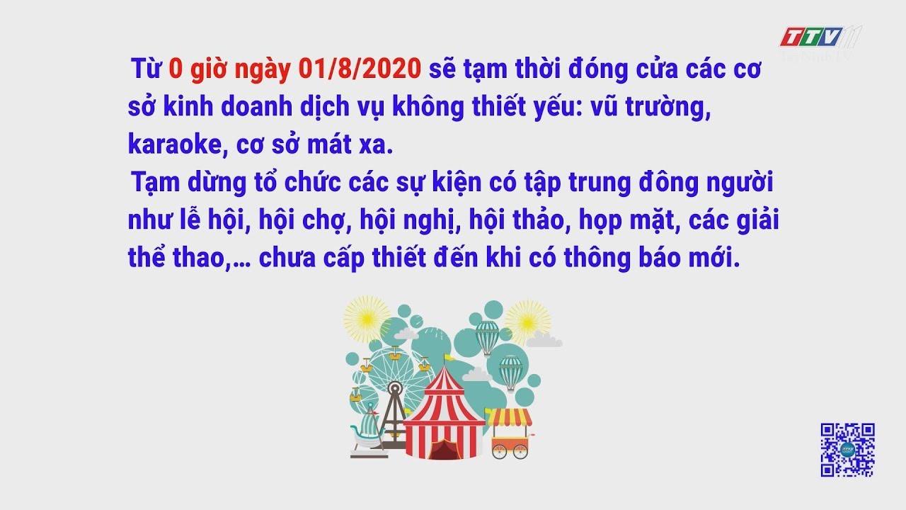 Dừng hoạt động quán bar, karaoke, vũ trường, cơ sở mát-xa từ 0 giờ ngày 01/8/2020 | TayNinhTV