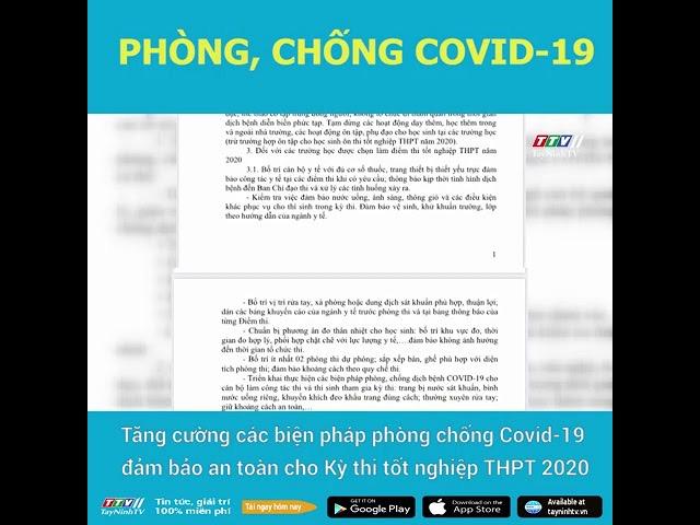 Tăng cường các biện pháp phòng chống Covid-19 đảm bảo an toàn cho Kỳ thi tốt nghiệp THPT 2020 | TayNinhTV